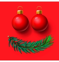 Red christmas balls and fir twig vector