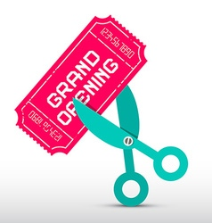Retro Grand Opening with Scissors and Pink T vector image