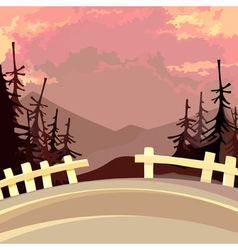 Road with a fence in the mountains with fir trees vector
