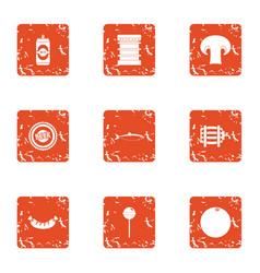 Roast icons set grunge style vector