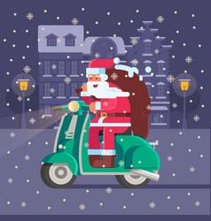 santa with gift bag on christmas scooter vector image