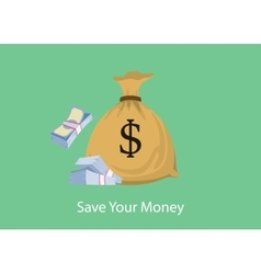 save your money with bag and stack of cash dollar vector image