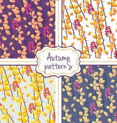 Seamless autumn pattern set vector image