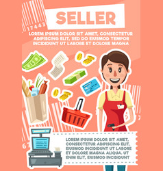 Seller woman profession in supermarket store vector