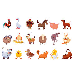 set farm animals livestock and poultry vector image