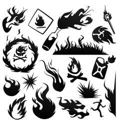 Set fire vector image