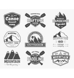 Set of vintage mountain kayaking paddling vector image