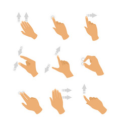 set touch screen hand vector image