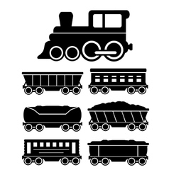 set train cars for travel or cargo delivery vector image
