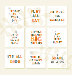 set with fun hand drawn nursery posters vector image