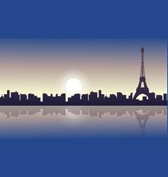 Silhouette of paris skyline beauty landscape vector