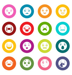 smiles icons set colorful circles vector image