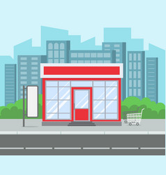 street shop retro grocery store house supermarket vector image