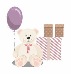 Teddy bear balloon and gifts isolated on white vector