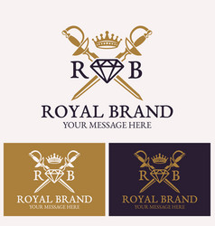 two crossed swords and diamonds with crown logo vector image