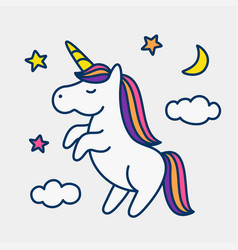 Unicorn on stars clouds and moon background vector