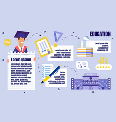 university education flat poster template vector image