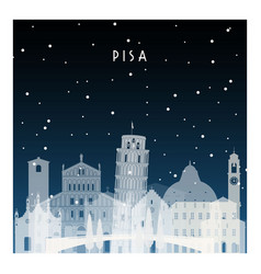 winter night in pisa night city in flat style vector image