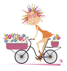 Woman a bike and bouquets of flowers vector