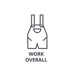 Work overall line icon outline sign linear vector