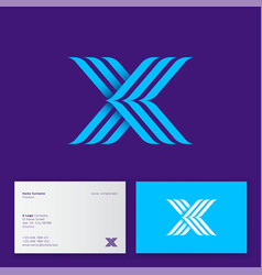 x letter three blue strips monogram business card vector image