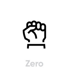 zero or fist icon editable line vector image