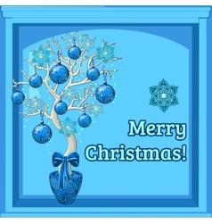 Christmas bonsai and merry Christmas wishes vector image