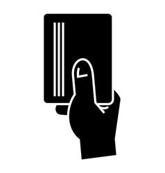 hand holding paper - card icon vector image vector image