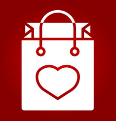 shopping bag with heart glyph icon valentines day vector image vector image