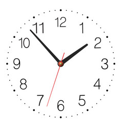Simple classic clock isolated on white background vector image vector image