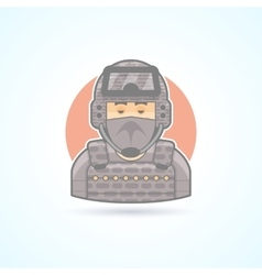 Special Forces soldier commando officer icon vector image