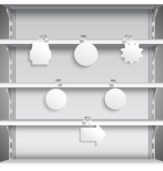 Supermarket shelves with wobblers vector image vector image