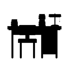 Black silhouette desk with computer and chair vector