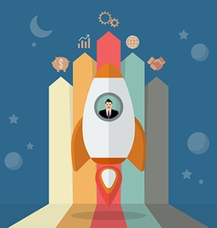 Businessman on a rocket with arrow bar chart vector image vector image