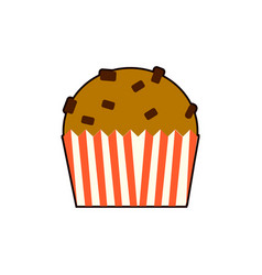 cupcake icon in flat style isolated on white vector image