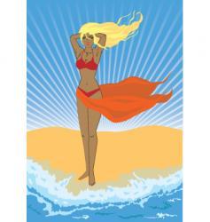 girl on a beach vector image vector image