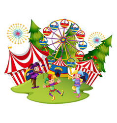 many jesters at the circus vector image vector image