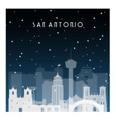 winter night in san antonio night city in flat vector image