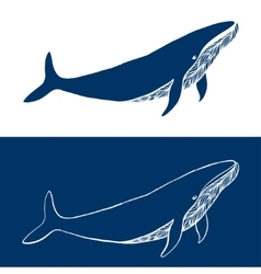 Big Whale Hand drawn fish logo Simple icon vector image vector image