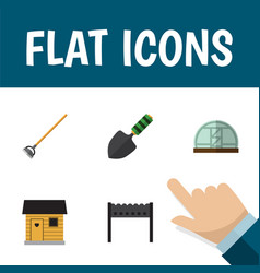 Flat icon farm set of barbecue stabling hothouse vector