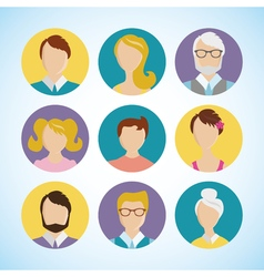 flat icon set people face avatar vector image vector image