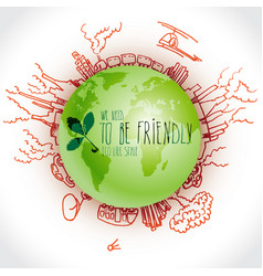 green planet with danger ecology doodles sketched vector image vector image