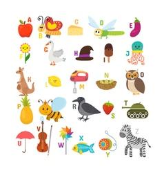 Learn to read children alphabet with cute cartoon vector