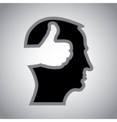 Mans head with thumbs up vector image