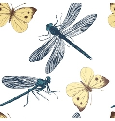 seamless pattern with dragonflies and butterflies vector image