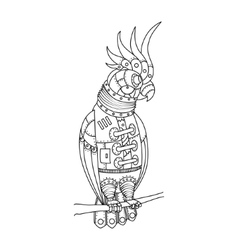 Steampunk style parrot coloring book vector image