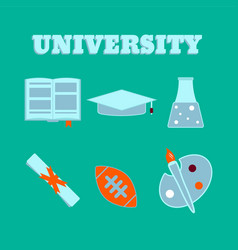 university flat icons set of college items vector image