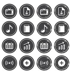 Website navigation icons on retro labels set vector image vector image