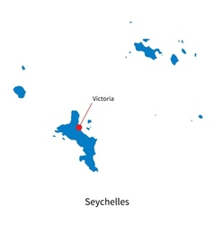 Detailed map of Seychelles and capital city vector image