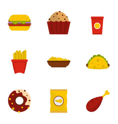 fast food icon set flat style vector image